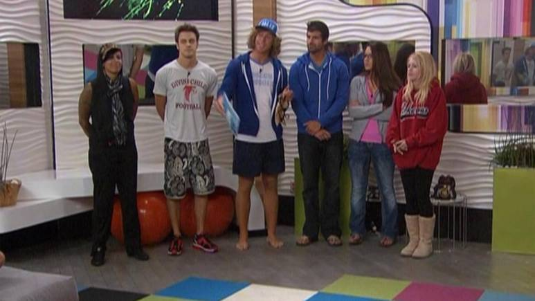 Big Brother 16 contestants stand ready to compete in the power of veto.