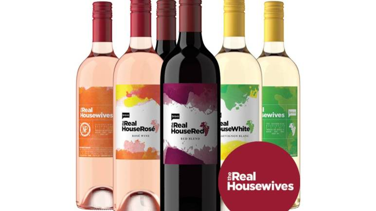 Bravo's The Real Housewives Rose, The Real House Red and The Real House White wine bottles.