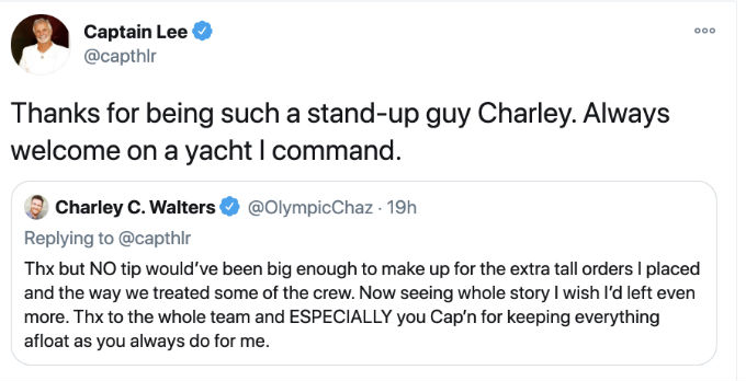 Captain Lee thanks Below Deck guest Charley Walters