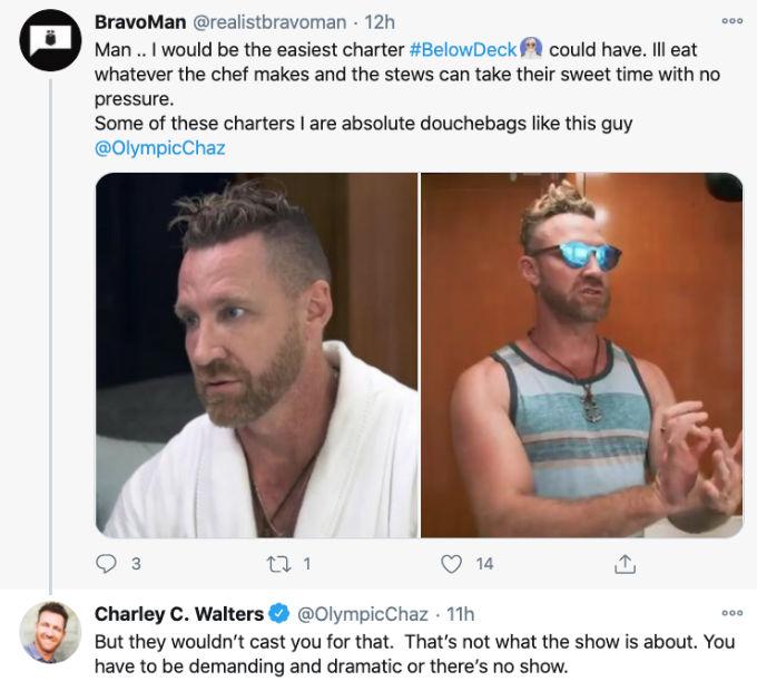 Charley defends himself against Below Deck fans