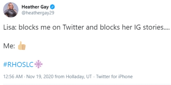 RHOSLC star Heather Gay tweets about Lisa Barlow blocking her on social media