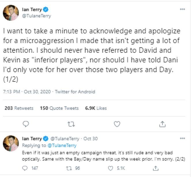 Ian Twitter Apology