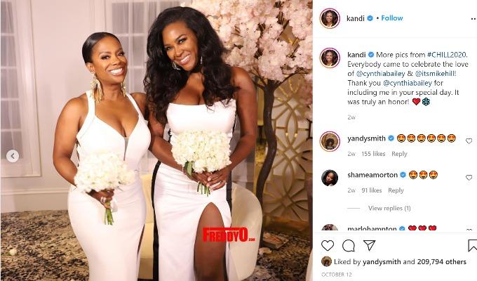 Kandi Burress and Kenya Moore were bridesmaids in Cynthia Bailey's wedding.
