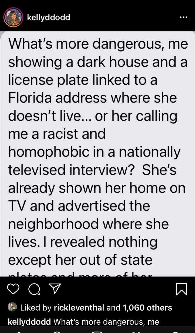 Kelly Dodd posts to social media defending herself against Braunwyn who said Kelly's social media post put her and her family in danger