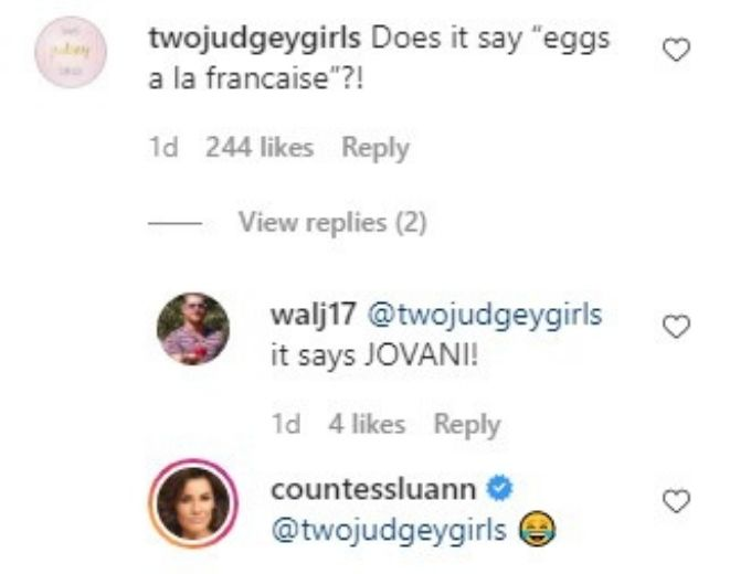 Instagram comments from RHONY housewife, Luann de Lesseps Instagram