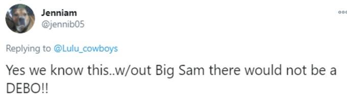 Tweet about Big Sam
