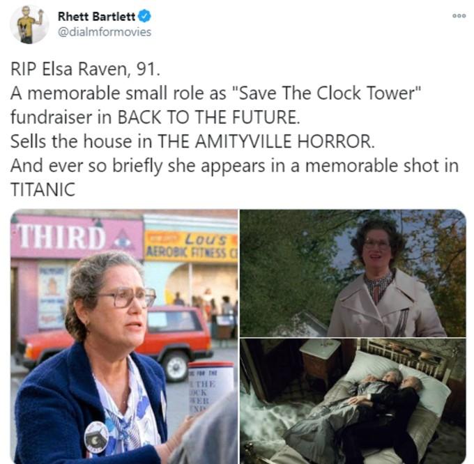 Tweet tribute to Elsa Raven