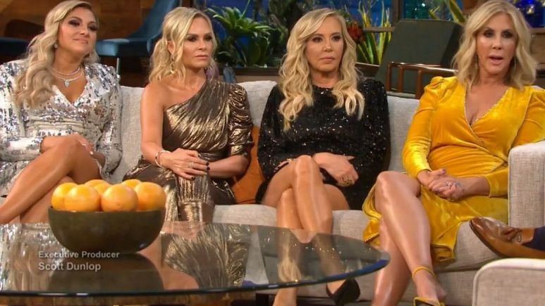 Gina Kirschenheiter with castmates Shannon Beador, Tamra Judge and Vicki Gunvalson during the RHOC season 14 reunion