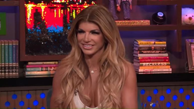 Teresa Giudice during an episode of WWHL with Andy Cohen