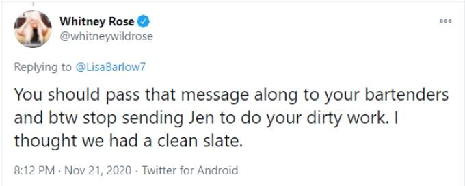 Whitney Rose replies to Lisa Barlow's Twitter post