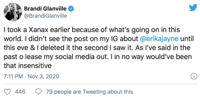 Brandi Glanville blames Xanax for Instagram post about Erika Jayne's divorce.