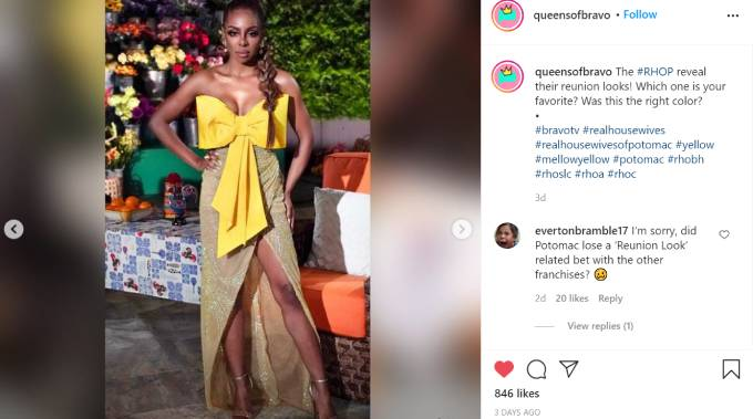 Candiace Dillard wears a canary yellow dress for the RHOP reunion.
