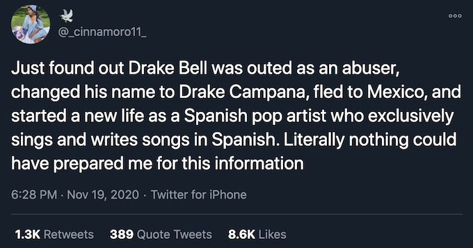 drake bell name change tweet reaction