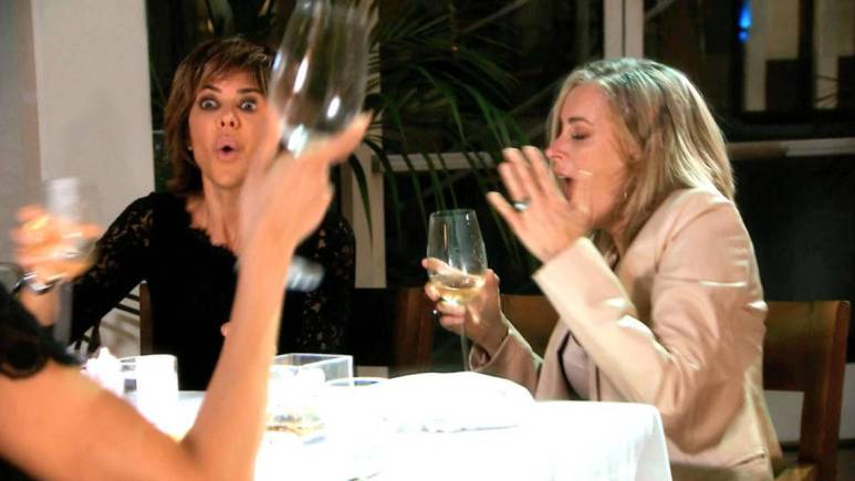 Eileen Davidson reacts to Brandi Glanville throwing wine at her.