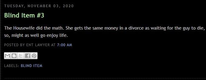 Blind item spoke about Erika Jayne split