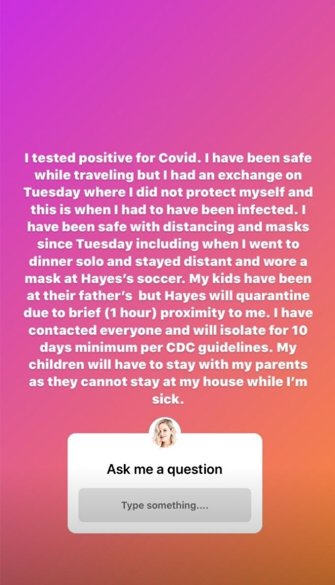 Screenshot of Meghan King Instagram story saying she's tested positive for Covid-19