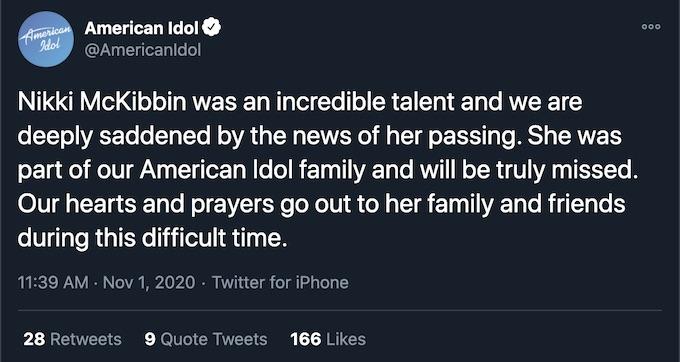nicki mckibbin american idol tweet