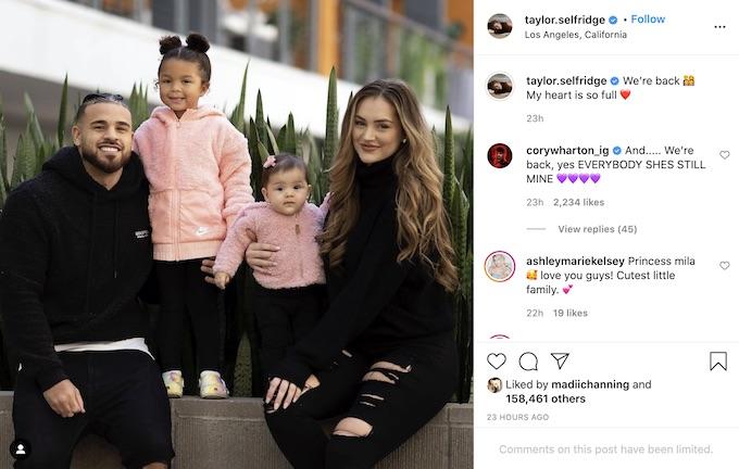 taylor selfridge shares instagram pic with cory wharton