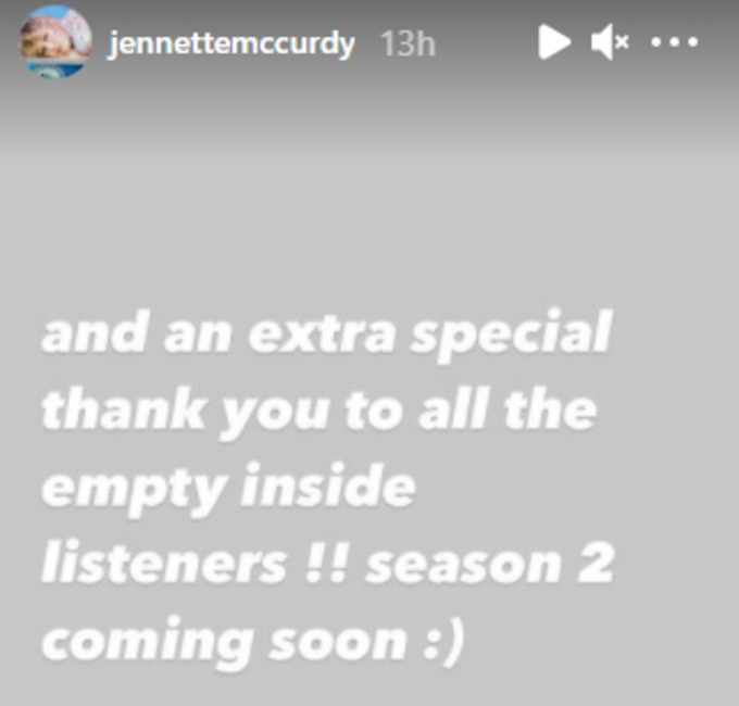 Jennette McCurdy's Instagram story