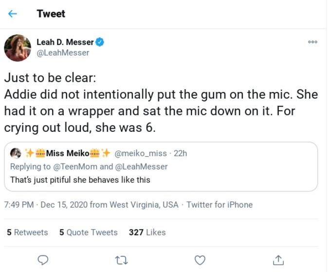 Leah Messer defends Addie.