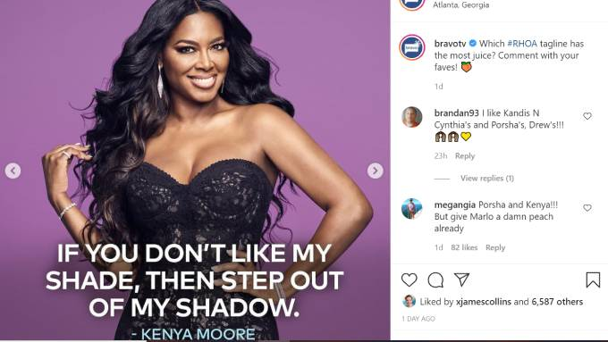 Kenya Moore poses as her tagline is revealed in the foreground