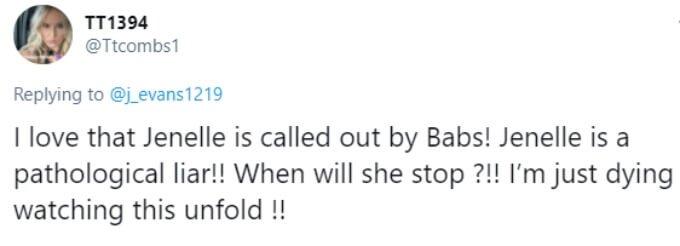 A fan is happy Jenelle got called out by Barbara Evans for lying