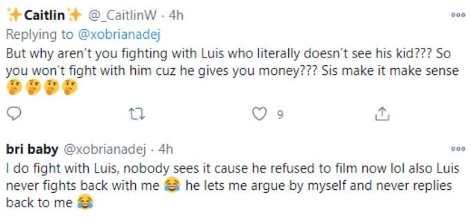Fan reacts to Briana DeJesus' Twitter post