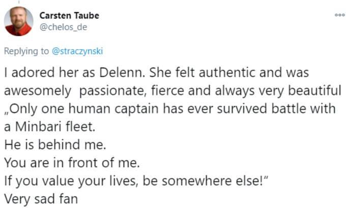 Tweet by fan saying they adored Furlan in Babylon 5