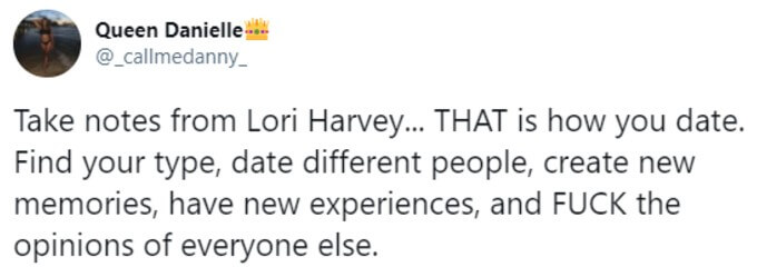 Fan suggests we take notes on dating from Lori Harvey