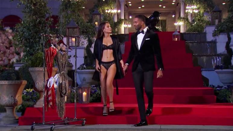 The Bachelor Matt James meeting a woman in lingerie on premiere night