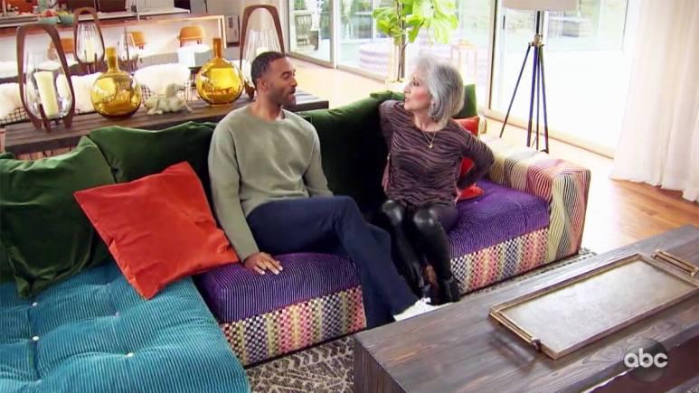 Bachelor Matt James talking to his mom
