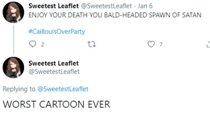 Twitter fan calls Caillou the Spawn of Satan
