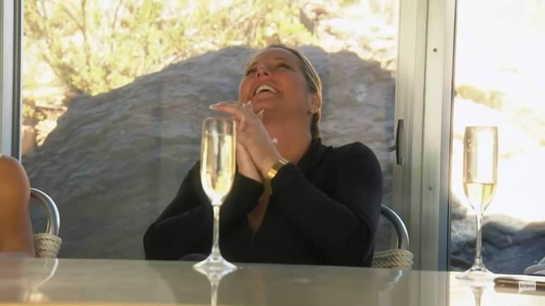Elizabeth Lyn Vargas laughs while filming RHOC.