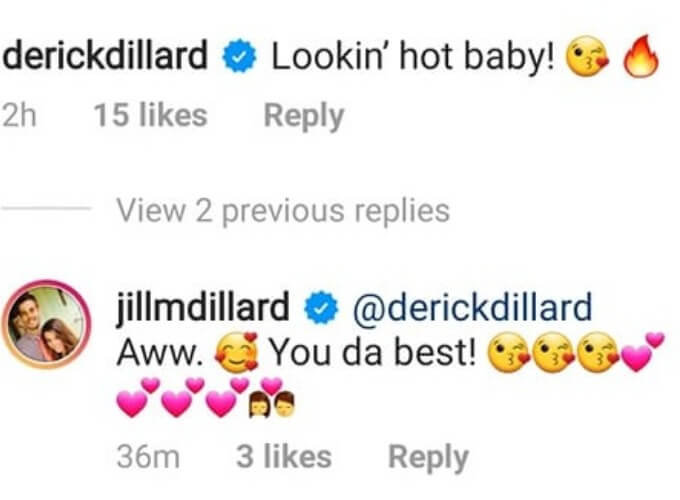 Derick comments on Jill's IG post.