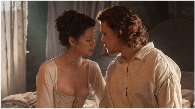 Caitriona Balfe as Claire and Sam Heughan as Jamie, as seen in Starz's Outlander.