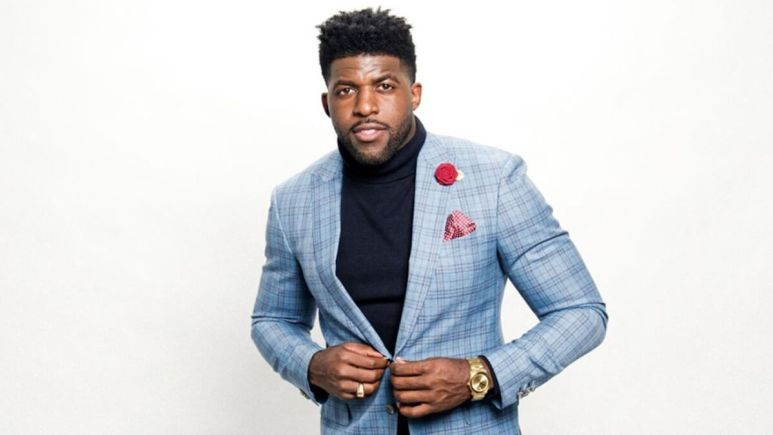 Emmanuel getting ready to host the Bachelor's After the Final Rose Special.