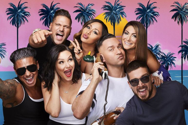 "Group photo of the original cast of Jersey Shore, including: Ronnie, Snooki, Deena, Pauly D, JWoww, Mike ""The Situation"", and Vinny."
