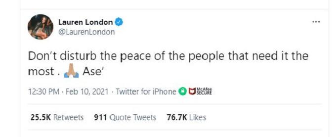 Screenshot of Tweet from Lauren London.