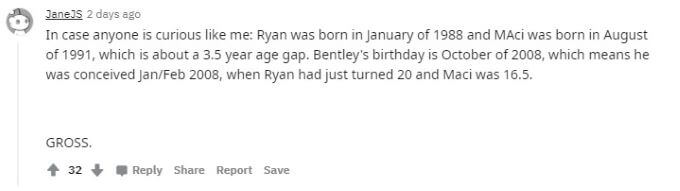 Yet another Reddit comment about Ryan and Maci's age gap.