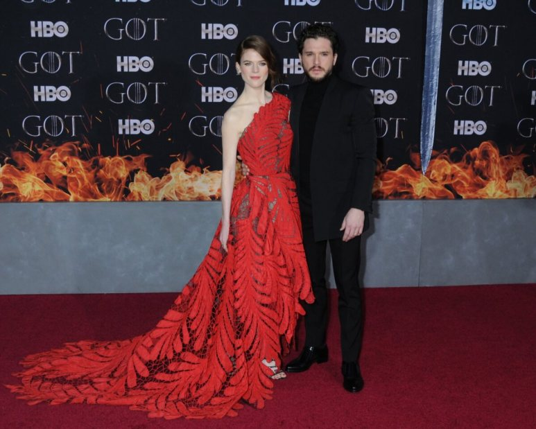 """Rose Leslie and Kit Harington at the NYC Red Carpet Premiere for final season of HBO's """"GAME OF THRONES"""" at Radio City Music Hall"""