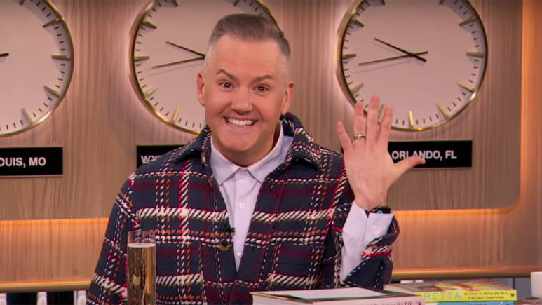 Ross Mathews flashing his engagement ring on the Drew Barrymore show