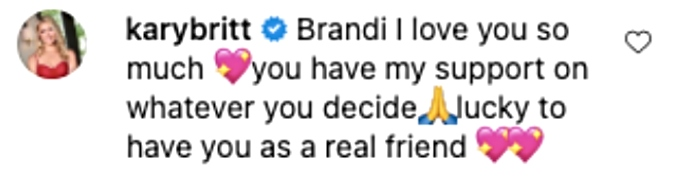 Kary Brittingham shows love to Brandi Redmond