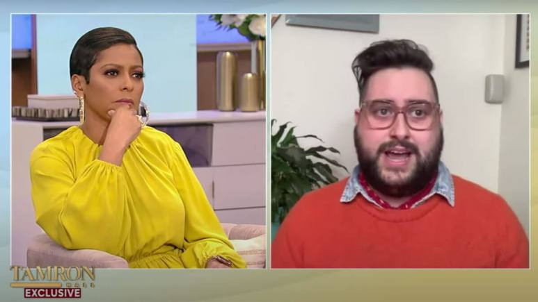 Tamron Hall virtually interviewing Sherry Pie.