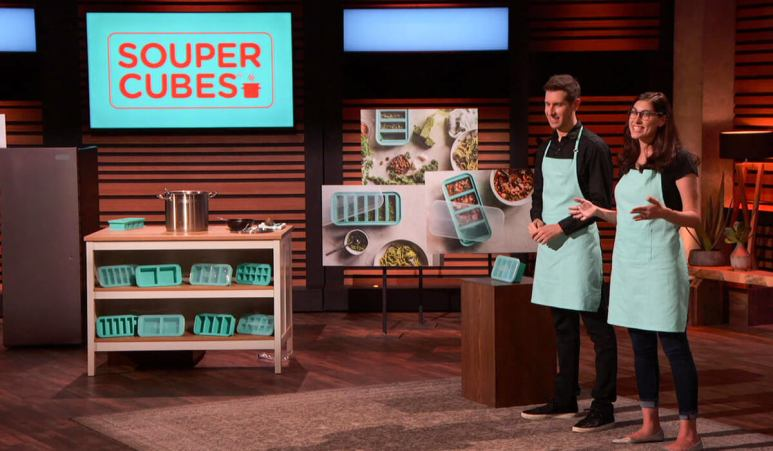 The creators of Souper Cubes, Michelle and Jake, on Shark Tank.
