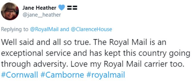 Twitter user writes that Royal Mail is exceptional