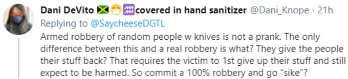Twitter user argues that you can't prank armed robbery