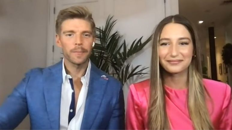Kyle Cooke and Amanda Batula during an episode of WWHL