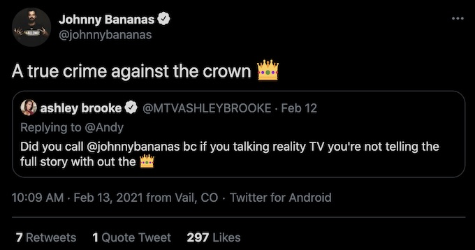 ashley mitchell tweets johnny bananas about reality series