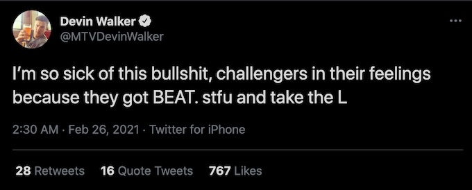 devin walker tweets about challengers in their feelings on double agents