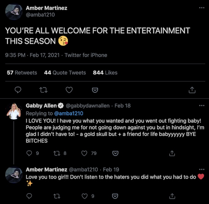 gabby allen and amber martinez tweets the challenge